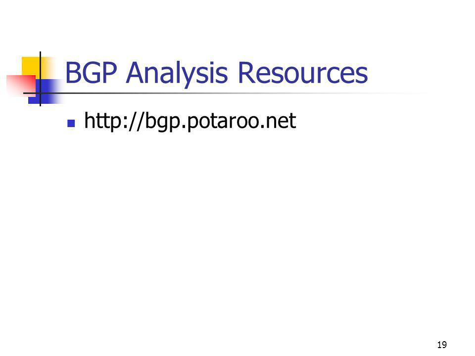 19 BGP Analysis Resources http://bgp.potaroo.net