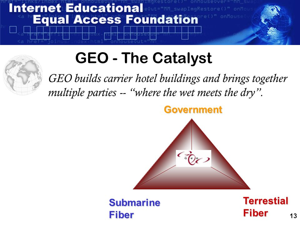 13 GEO builds carrier hotel buildings and brings together multiple parties -- where the wet meets the dry.