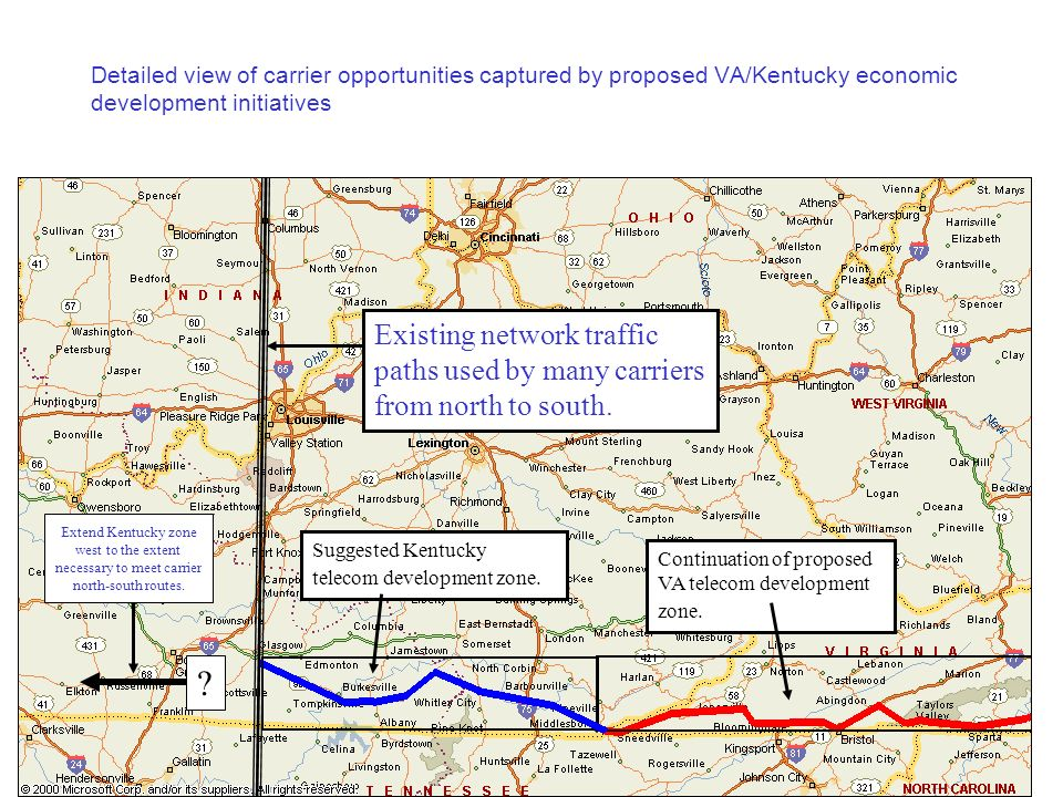 Detailed view of carrier opportunities captured by proposed VA/Kentucky economic development initiatives Continuation of proposed VA telecom development zone.