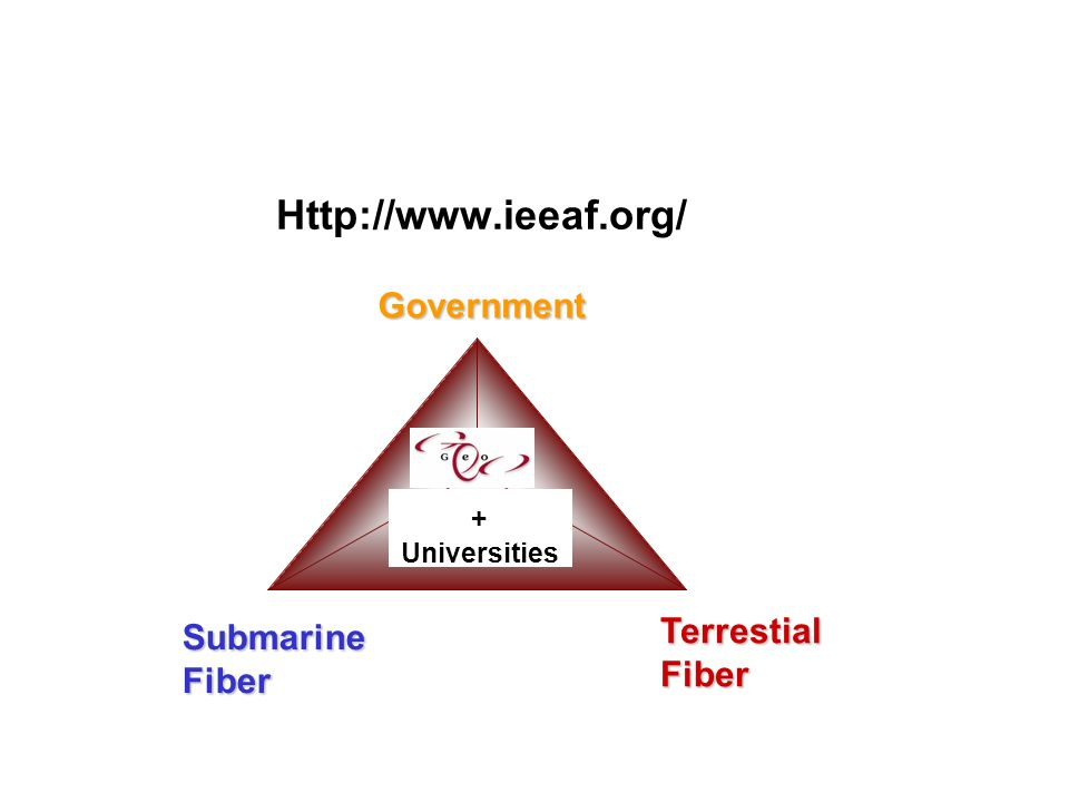 Http://www.ieeaf.org/ Government SubmarineFiber TerrestialFiber + Universities