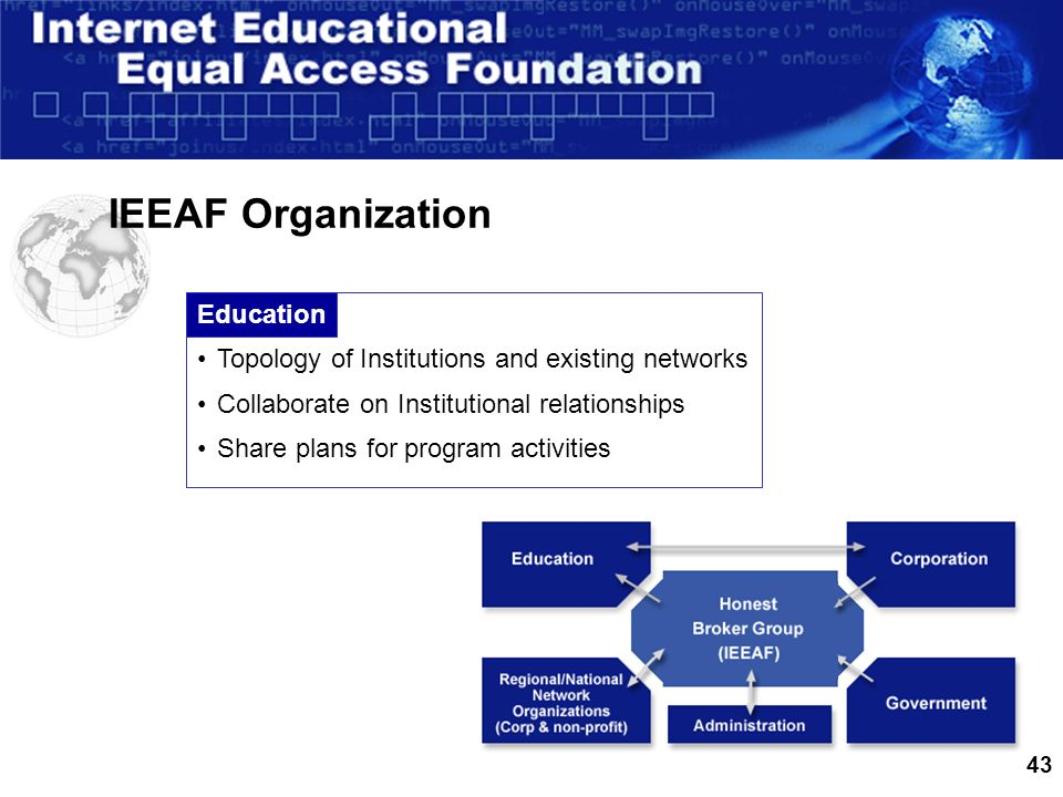 43 IEEAF Organization Education Topology of Institutions and existing networks Collaborate on Institutional relationships Share plans for program activities