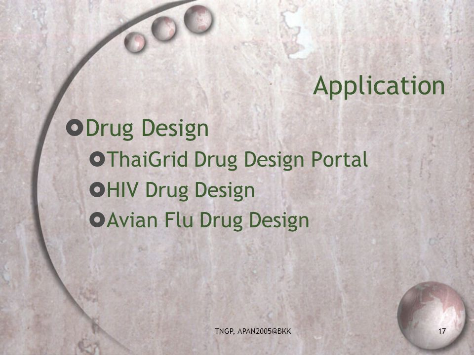 TNGP, APAN2005@BKK17 Application Drug Design ThaiGrid Drug Design Portal HIV Drug Design Avian Flu Drug Design