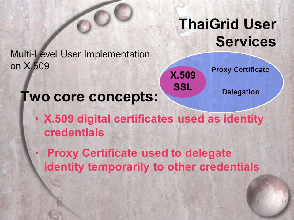 Proxy Certificate Delegation X.509 SSL Multi-Level User Implementation on X.509 ThaiGrid User Services Two core concepts: X.509 digital certificates used as identity credentials Proxy Certificate used to delegate identity temporarily to other credentials