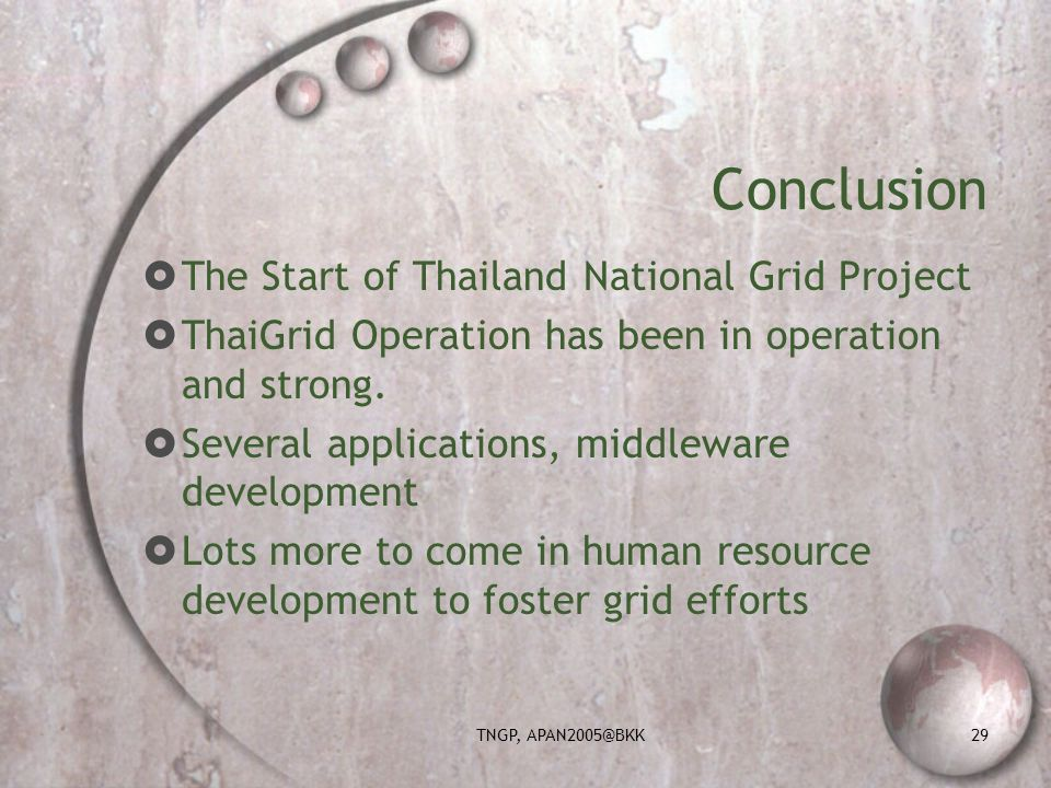 TNGP, APAN2005@BKK29 Conclusion The Start of Thailand National Grid Project ThaiGrid Operation has been in operation and strong.