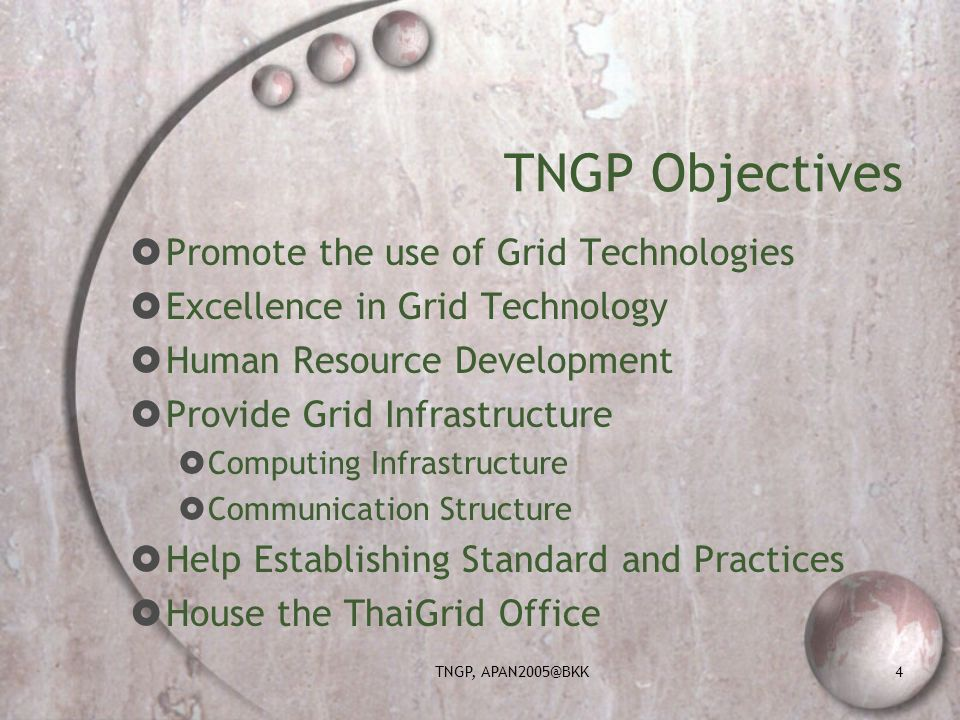 TNGP, APAN2005@BKK4 TNGP Objectives Promote the use of Grid Technologies Excellence in Grid Technology Human Resource Development Provide Grid Infrastructure Computing Infrastructure Communication Structure Help Establishing Standard and Practices House the ThaiGrid Office