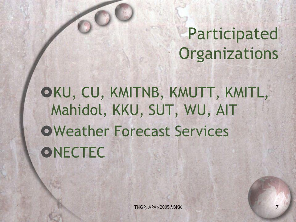TNGP, APAN2005@BKK7 Participated Organizations KU, CU, KMITNB, KMUTT, KMITL, Mahidol, KKU, SUT, WU, AIT Weather Forecast Services NECTEC