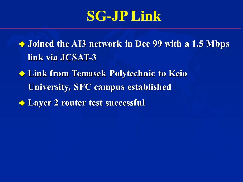 SG-JP Link u Joined the AI3 network in Dec 99 with a 1.5 Mbps link via JCSAT-3 u Link from Temasek Polytechnic to Keio University, SFC campus established u Layer 2 router test successful