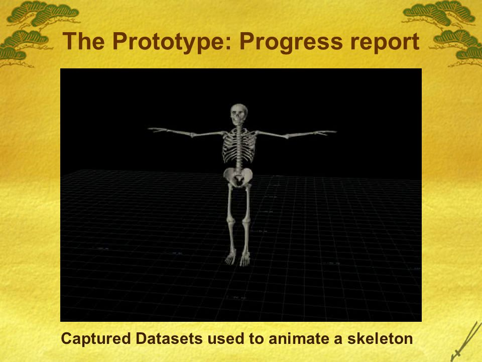 The Prototype: Progress report Captured Datasets used to animate a skeleton