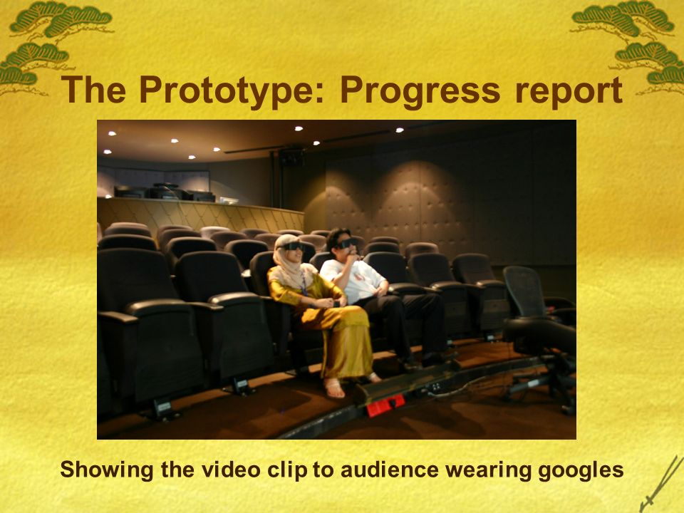 The Prototype: Progress report Showing the video clip to audience wearing googles
