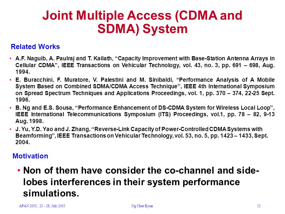 APAN 2005, 23 - 28, July 2005Ng Chee Kyun15 Joint Multiple Access (CDMA and SDMA) System A.F. Naguib, A. Paulraj and T. Kailath, Capacity Improvement
