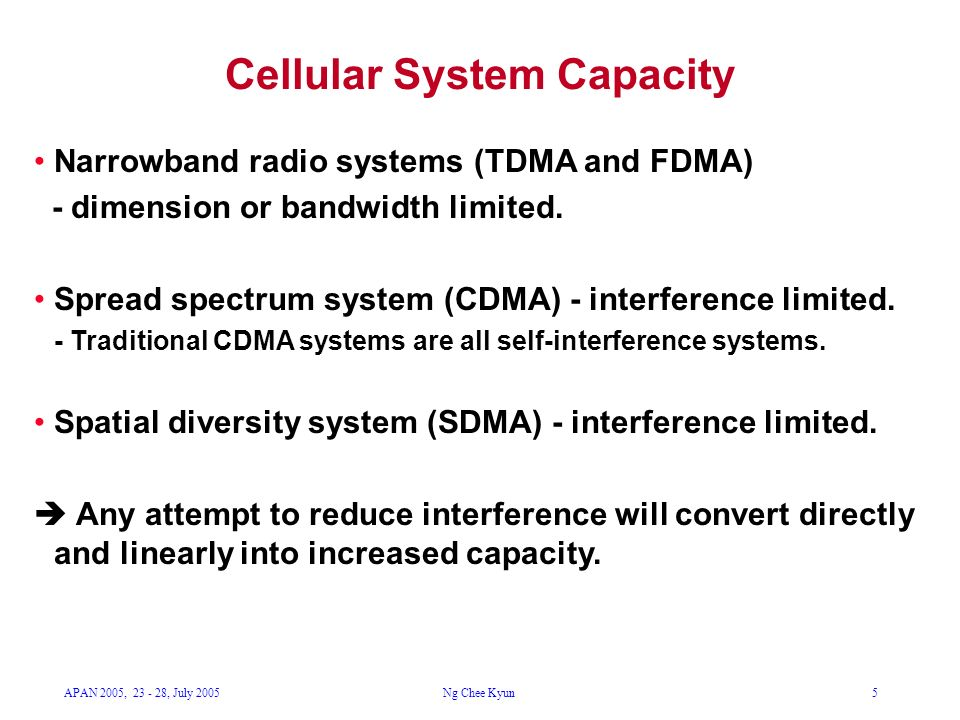 APAN 2005, 23 - 28, July 2005Ng Chee Kyun5 Cellular System Capacity Narrowband radio systems (TDMA and FDMA) - dimension or bandwidth limited. Spread