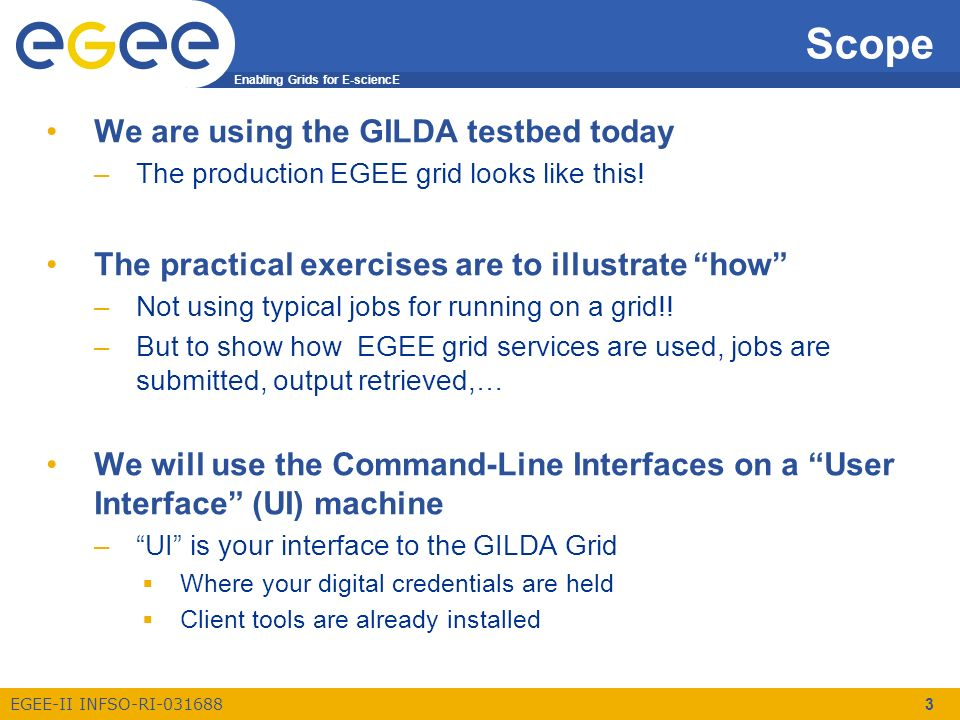 Enabling Grids for E-sciencE EGEE-II INFSO-RI-031688 3 Scope We are using the GILDA testbed today –The production EGEE grid looks like this! The pract