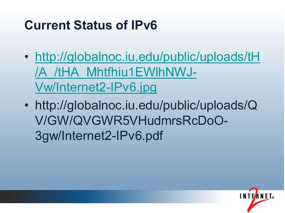 Current Status of IPv6 http://globalnoc.iu.edu/public/uploads/tH /A_/tHA_Mhtfhiu1EWlhNWJ- Vw/Internet2-IPv6.jpghttp://globalnoc.iu.edu/public/uploads/tH /A_/tHA_Mhtfhiu1EWlhNWJ- Vw/Internet2-IPv6.jpg http://globalnoc.iu.edu/public/uploads/Q V/GW/QVGWR5VHudmrsRcDoO- 3gw/Internet2-IPv6.pdf
