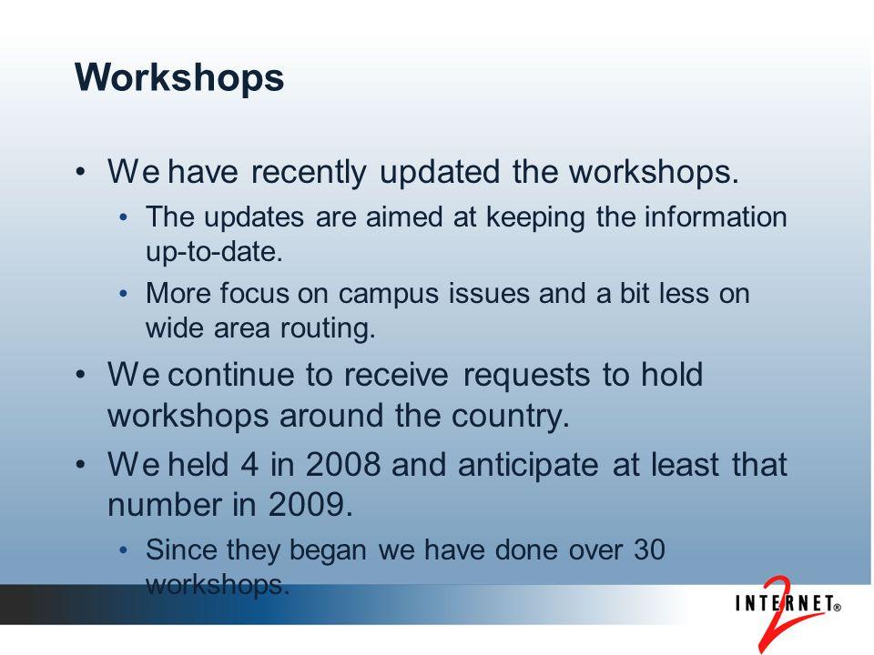 Workshops We have recently updated the workshops.