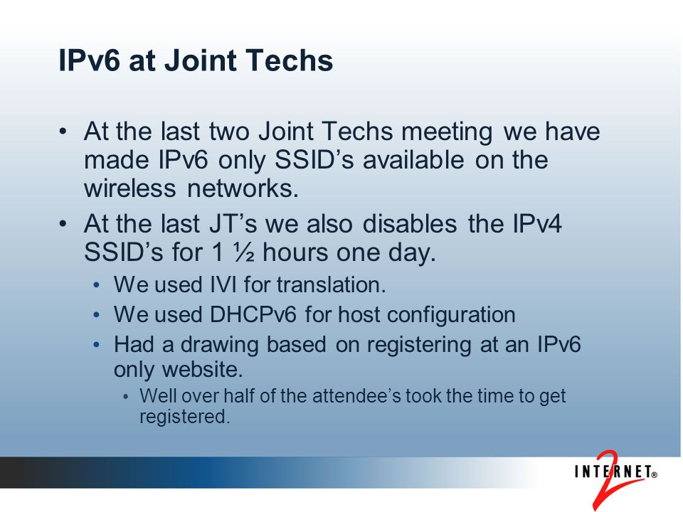 What are the impediments.What at this point hinders the growth of IPv6 within our community.