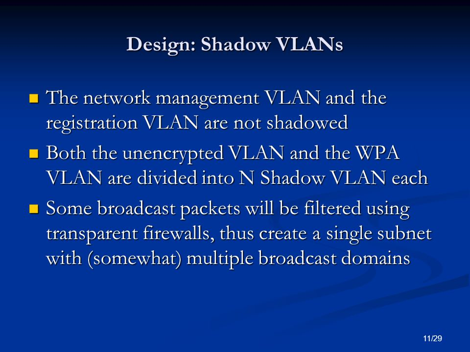 11/29 Design: Shadow VLANs The network management VLAN and the registration VLAN are not shadowed The network management VLAN and the registration VLA
