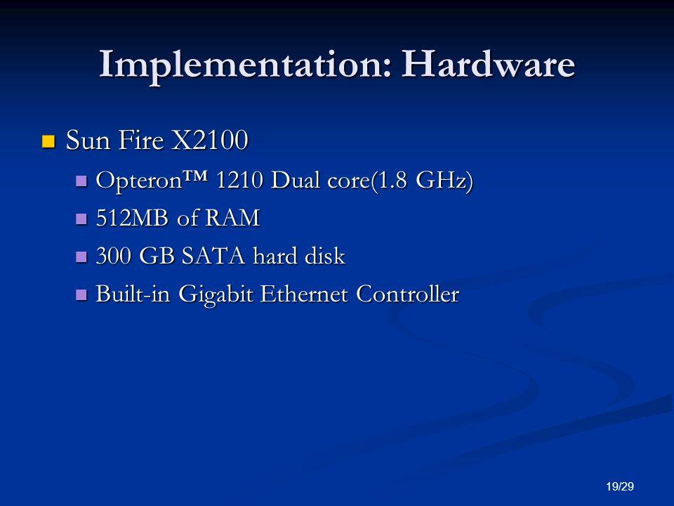 19/29 Implementation: Hardware Sun Fire X2100 Sun Fire X2100 Opteron 1210 Dual core(1.8 GHz) Opteron 1210 Dual core(1.8 GHz) 512MB of RAM 512MB of RAM 300 GB SATA hard disk 300 GB SATA hard disk Built-in Gigabit Ethernet Controller Built-in Gigabit Ethernet Controller