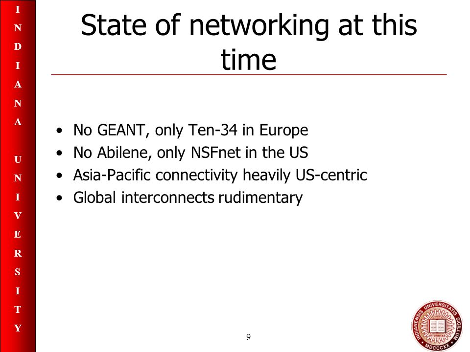 INDIANAUNIVERSITYINDIANAUNIVERSITY 9 State of networking at this time No GEANT, only Ten-34 in Europe No Abilene, only NSFnet in the US Asia-Pacific connectivity heavily US-centric Global interconnects rudimentary