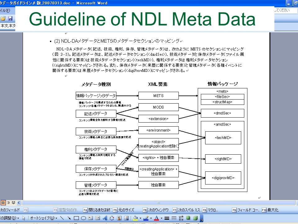 Guideline of NDL Meta Data