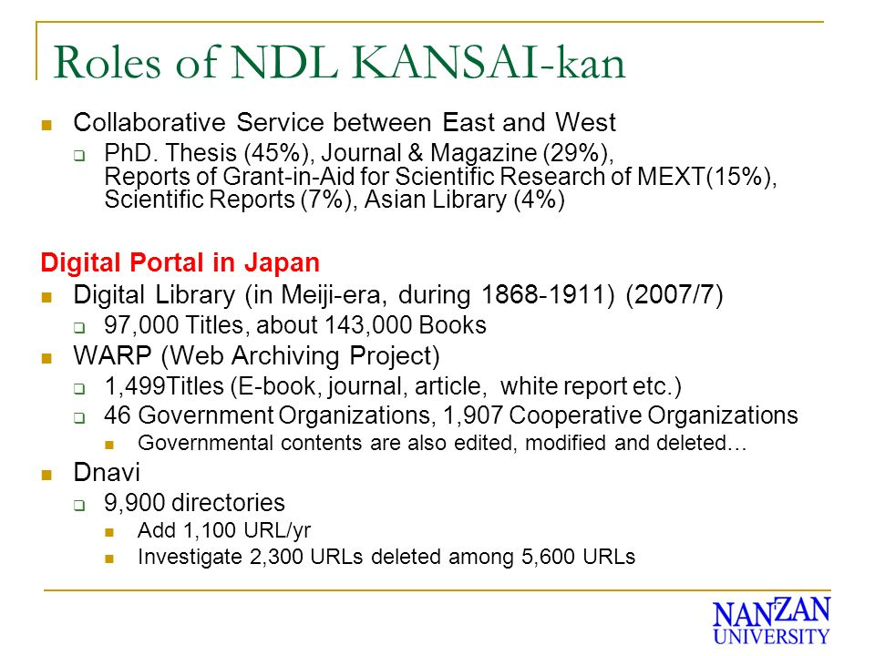 Roles of NDL KANSAI-kan Collaborative Service between East and West PhD. Thesis (45%), Journal & Magazine (29%), Reports of Grant-in-Aid for Scientifi
