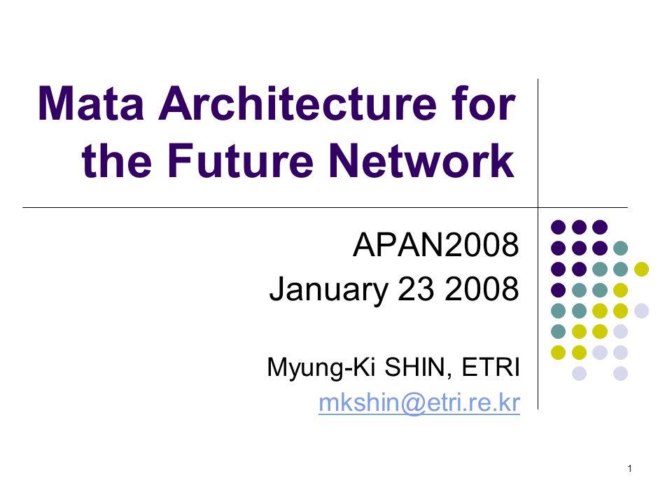 1 Mata Architecture for the Future Network APAN2008 January 23 2008 Myung-Ki SHIN, ETRI mkshin@etri.re.kr