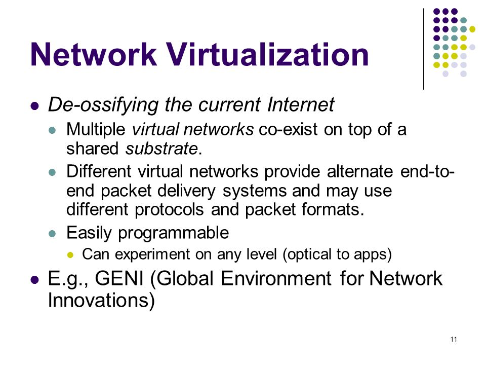 11 Network Virtualization De-ossifying the current Internet Multiple virtual networks co-exist on top of a shared substrate.