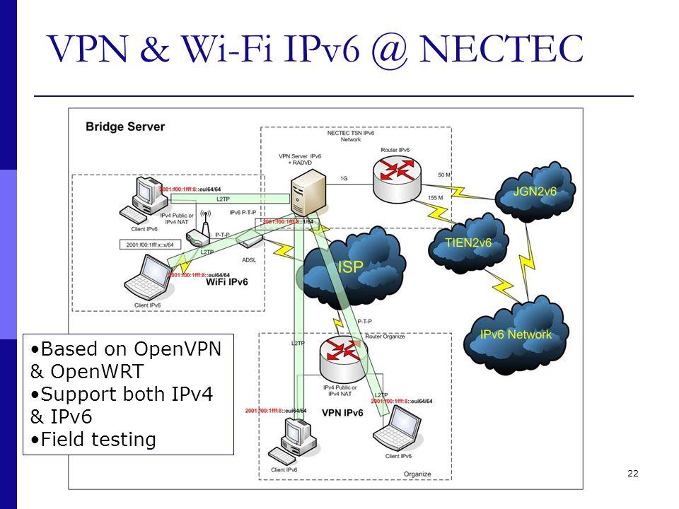 22 VPN & Wi-Fi IPv6 @ NECTEC Based on OpenVPN & OpenWRT Support both IPv4 & IPv6 Field testing