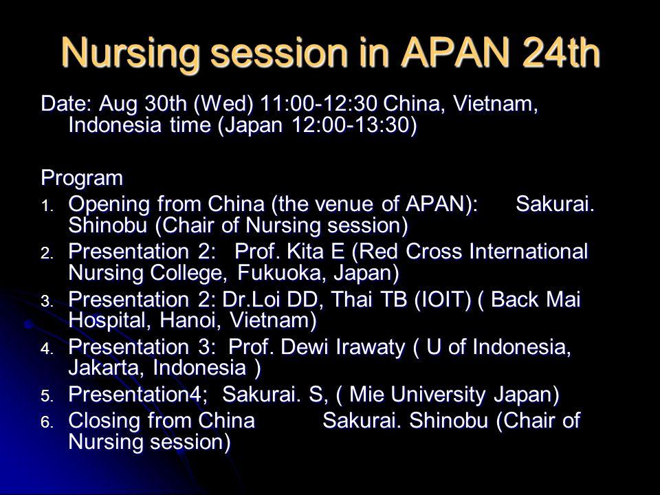 Mie University SHINOBU SAKURAI (romane@nurse.medic.mie-u.ac.jp) Community Nursing, School of Nursing, Faculty of Medicine Center for International Education & Research