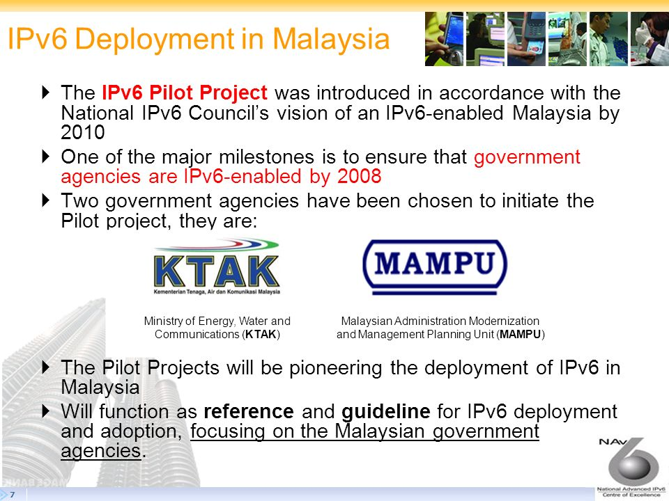 18 The Steps Forward 18 IPv6 deployment throughout the Putrayaja Campus Network.