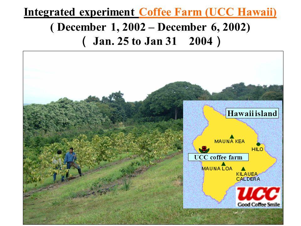 Integrated experiment Coffee Farm (UCC Hawaii) ( December 1, 2002 – December 6, 2002) Jan. 25 to Jan 31 2004 Hawaii island UCC coffee farm