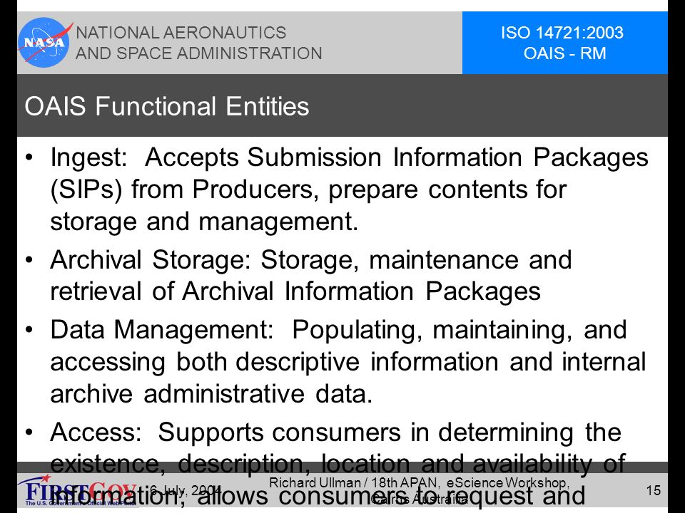 NATIONAL AERONAUTICS AND SPACE ADMINISTRATION ISO 14721:2003 OAIS - RM 6 July, 2004 Richard Ullman / 18th APAN, eScience Workshop, Cairns Austrailia 14 Figure 4-1: OAIS Functional Entities (page 4-1) Administration Preservation Planning Acc ess Data Managem ent Archiv al Stora ge Inges t PRODUCERPRODUCER CONSUMERCONSUMER M A N A G E M E N T SIP DIP queries results orders AIP Descriptive Information AIP Descriptive Information