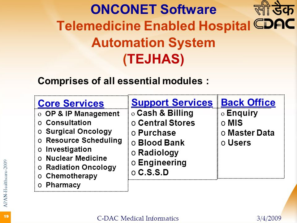 19 ONCONET Software Telemedicine Enabled Hospital Automation System (TEJHAS) Core Services o o OP & IP Management o o Consultation o o Surgical Oncolo
