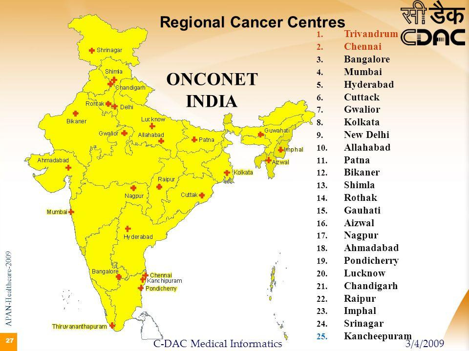 27 ONCONET INDIA 1. 1. Trivandrum 2. 2. Chennai 3. 3. Bangalore 4. 4. Mumbai 5. 5. Hyderabad 6. 6. Cuttack 7. 7. Gwalior 8. 8. Kolkata 9. 9. New Delhi