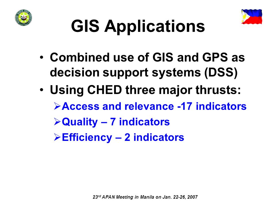 23 rd APAN Meeting in Manila on Jan. 22-26, 2007 GIS Applications Combined use of GIS and GPS as decision support systems (DSS) Using CHED three major