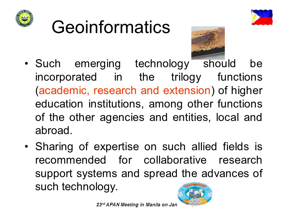 23 rd APAN Meeting in Manila on Jan. 22-26, 2007 Geoinformatics Such emerging technology should be incorporated in the trilogy functions (academic, re