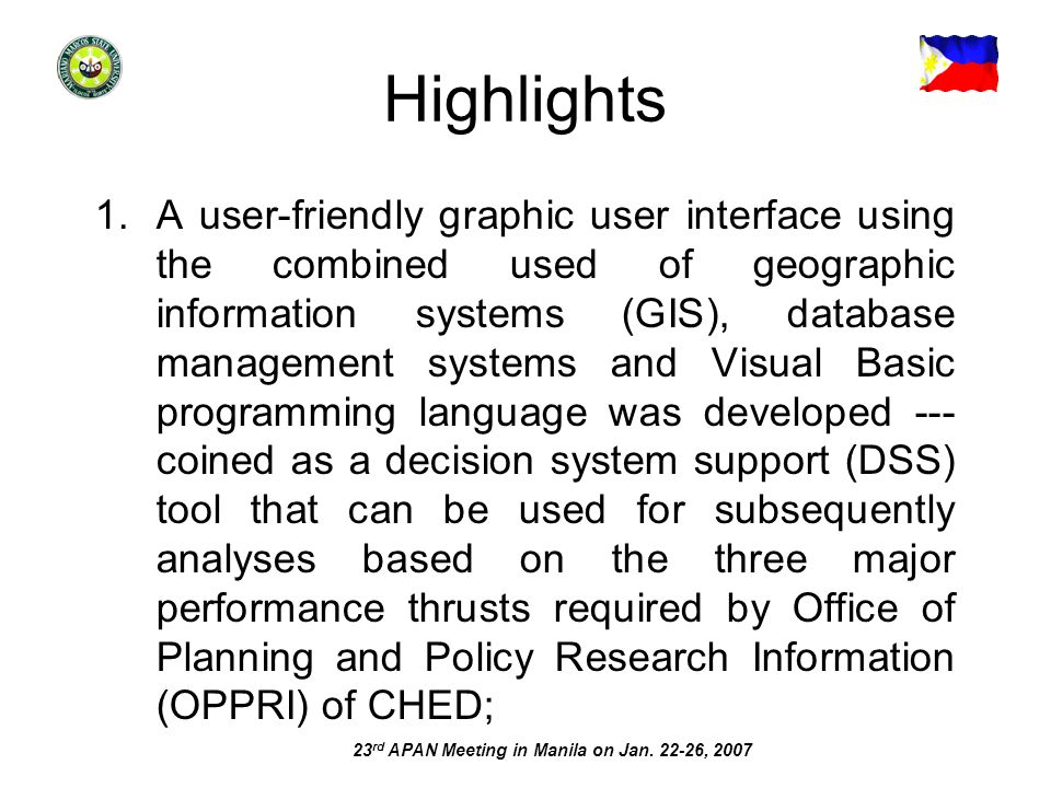 Highlights 1.A user-friendly graphic user interface using the combined used of geographic information systems (GIS), database management systems and V