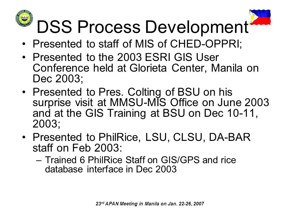 23 rd APAN Meeting in Manila on Jan. 22-26, 2007 DSS Process Development Presented to staff of MIS of CHED-OPPRI; Presented to the 2003 ESRI GIS User