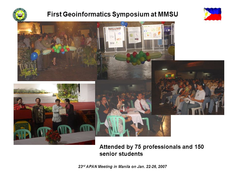 23 rd APAN Meeting in Manila on Jan. 22-26, 2007 Attended by 75 professionals and 150 senior students First Geoinformatics Symposium at MMSU