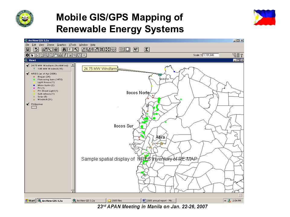 23 rd APAN Meeting in Manila on Jan. 22-26, 2007 Sample spatial display of NRES inventory of RE-MAP. Mobile GIS/GPS Mapping of Renewable Energy System