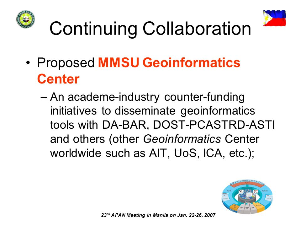 23 rd APAN Meeting in Manila on Jan. 22-26, 2007 Continuing Collaboration Proposed MMSU Geoinformatics Center –An academe-industry counter-funding ini