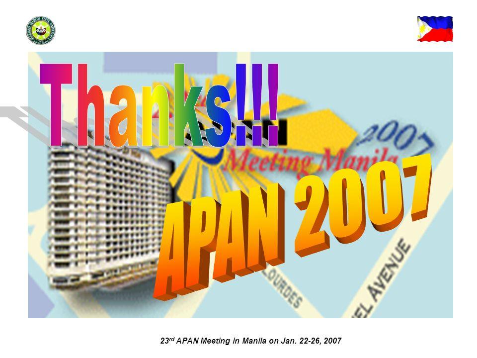 23 rd APAN Meeting in Manila on Jan. 22-26, 2007