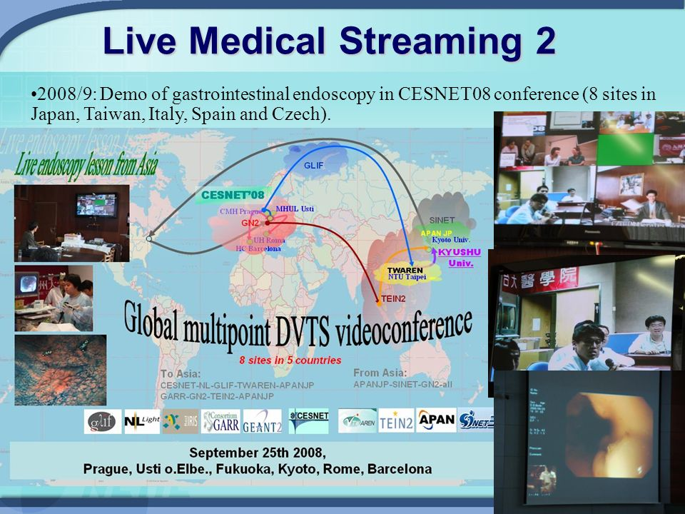 14 Live Medical Streaming /9: Demo of gastrointestinal endoscopy in CESNET08 conference (8 sites in Japan, Taiwan, Italy, Spain and Czech).