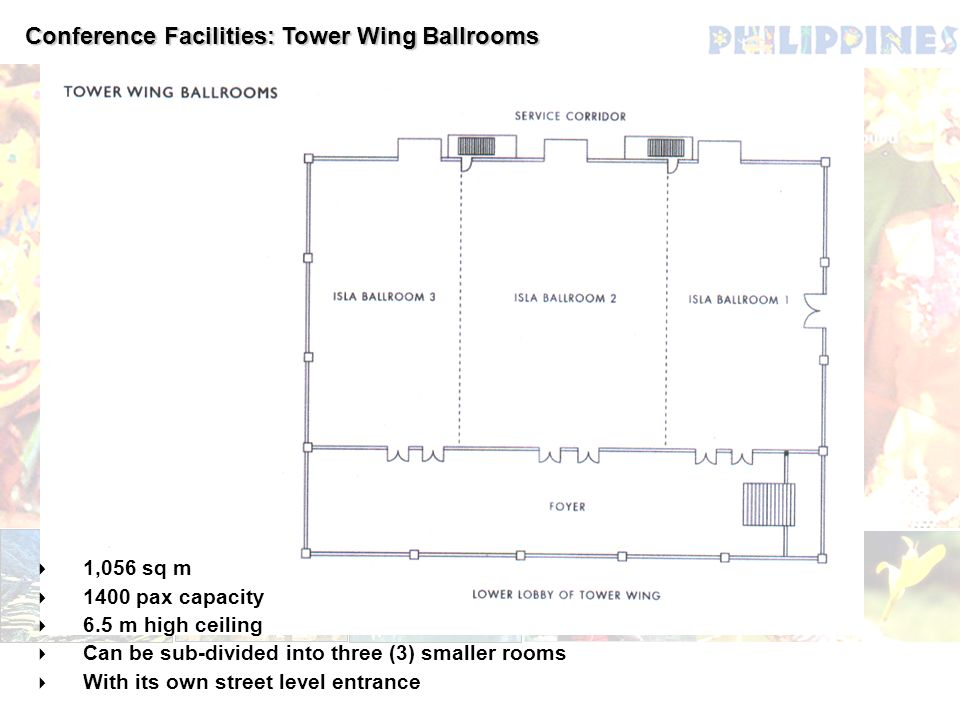 Conference Facilities: Tower Wing Ballrooms 1,056 sq m 1400 pax capacity 6.5 m high ceiling Can be sub-divided into three (3) smaller rooms With its o