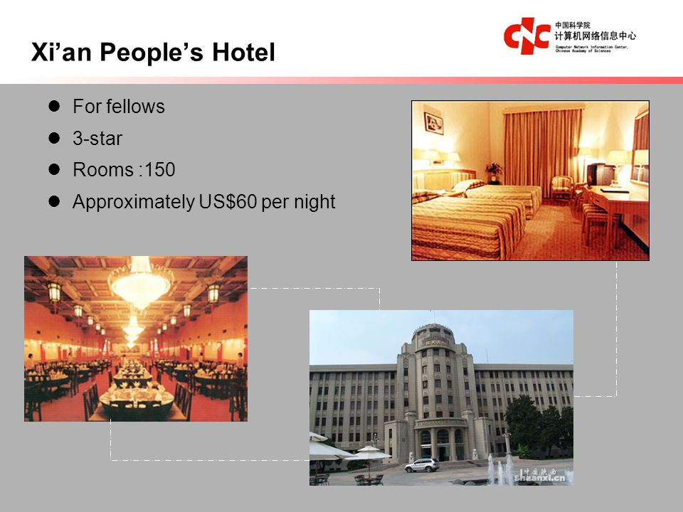 For fellows 3-star Rooms :150 Approximately US$60 per night Xian Peoples Hotel