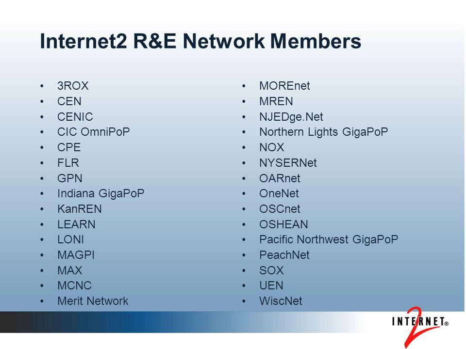 Internet2 R&E Network Members 3ROX CEN CENIC CIC OmniPoP CPE FLR GPN Indiana GigaPoP KanREN LEARN LONI MAGPI MAX MCNC Merit Network MOREnet MREN NJEDg