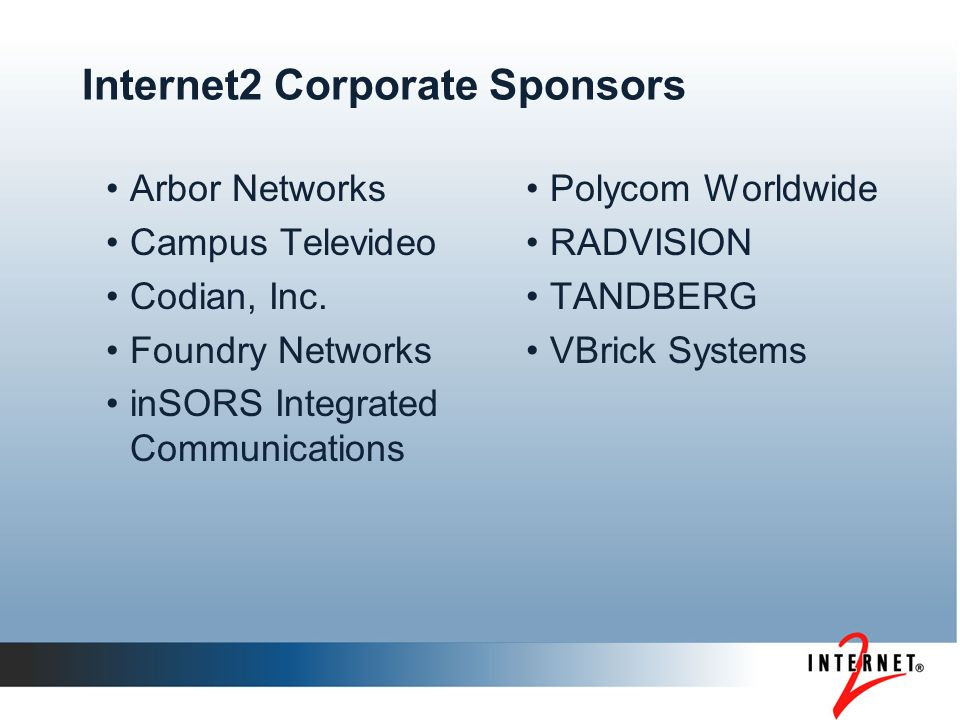 Internet2 Corporate Sponsors Arbor Networks Campus Televideo Codian, Inc.