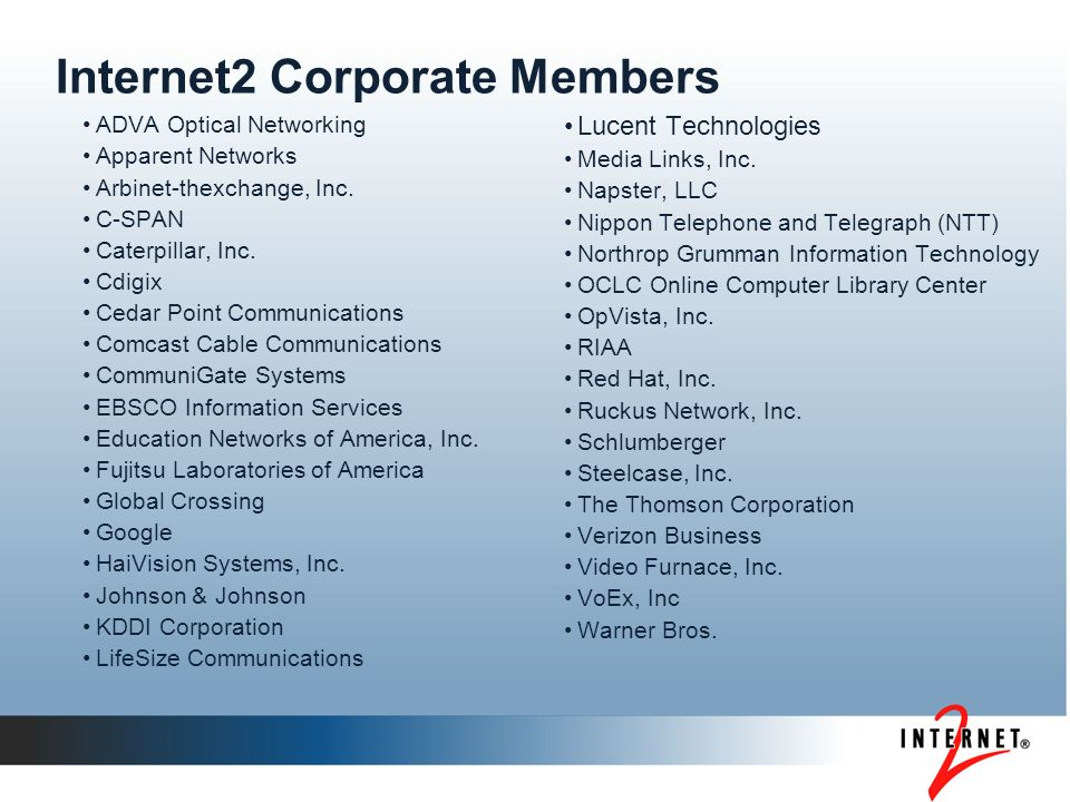 Internet2 Corporate Members ADVA Optical Networking Apparent Networks Arbinet-thexchange, Inc.