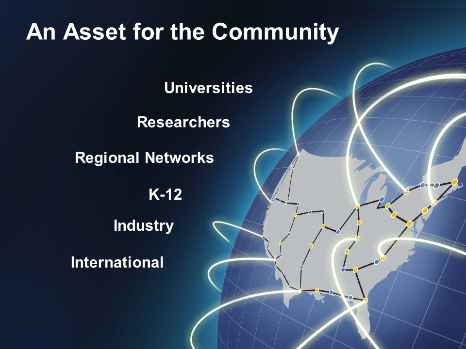 An Asset for the Community Universities Researchers Regional Networks K-12 Industry International An Asset for the Community Universities Researchers Regional Networks K-12 Industry International