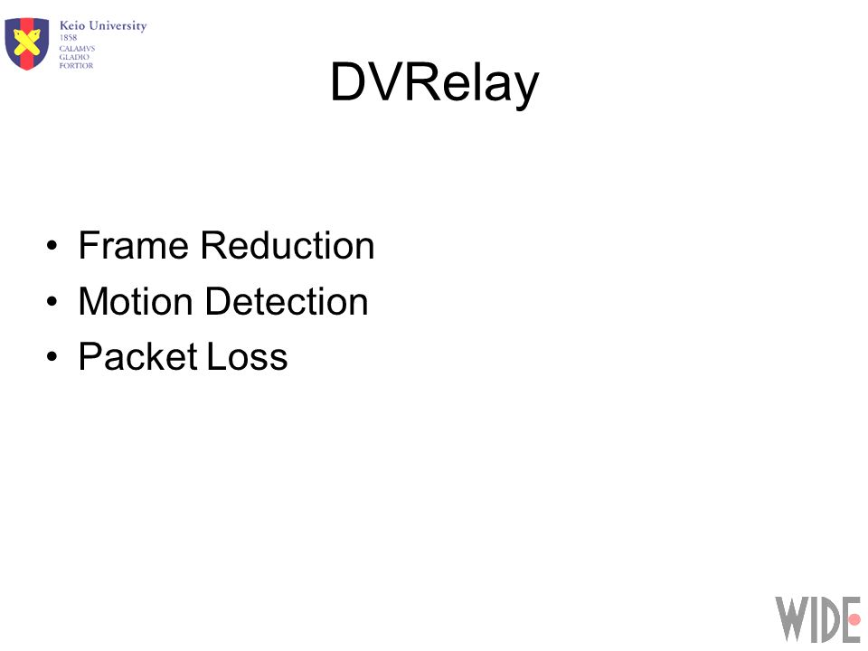 DVRelay Frame Reduction Motion Detection Packet Loss