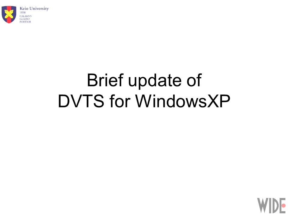 Brief update of DVTS for WindowsXP